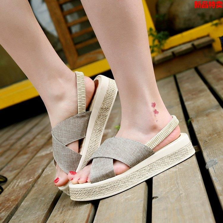 Espadrilles Flax Opened Toe Slip On Summer Flat Sandals