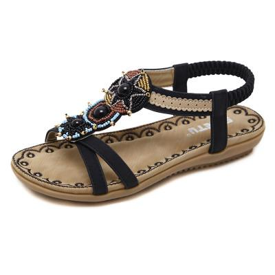 Bohemia Beaded Open Toe Flat Beach Sandals