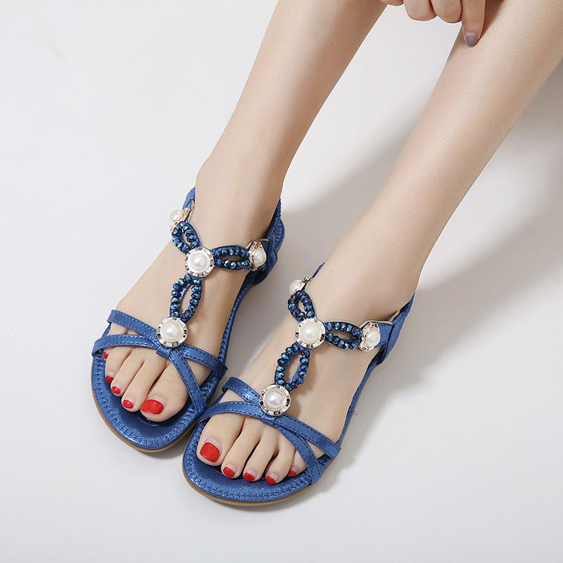 Large Size Beaded Rhinestone  Elastic Slip On Sandals