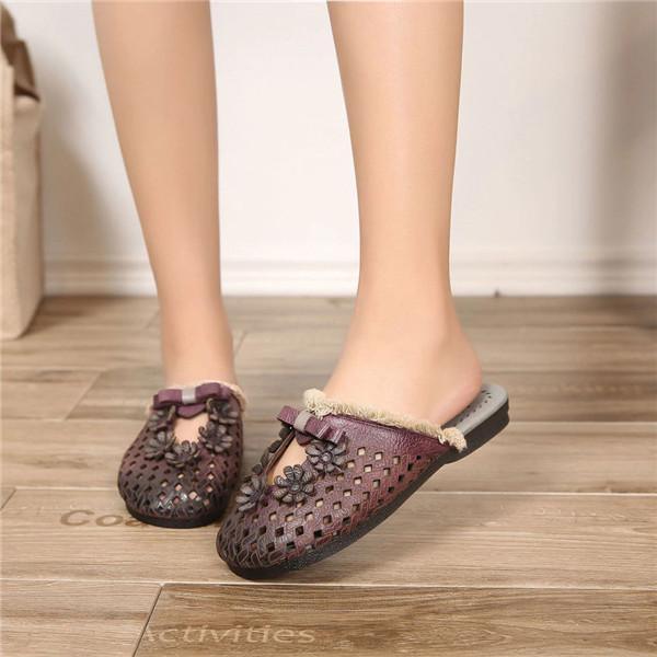 Handmade Leather Hollow Tassel Soft Flat Slippers