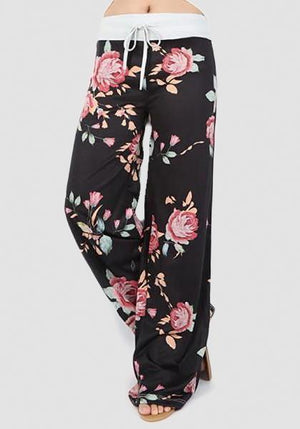 Relaxed Loose Baggy Floral Printed Pants-Long Leggings-2UBest.com-Black-S-2UBest.com