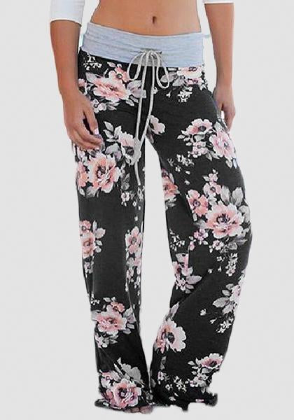 Relaxed Loose Baggy Floral Printed Pants-Long Leggings-2UBest.com-Black/Pink-S-2UBest.com