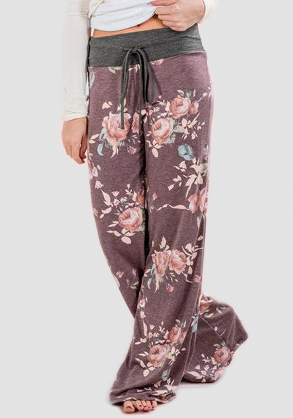 Relaxed Loose Baggy Floral Printed Pants-Long Leggings-2UBest.com-Dark Khaki-S-2UBest.com