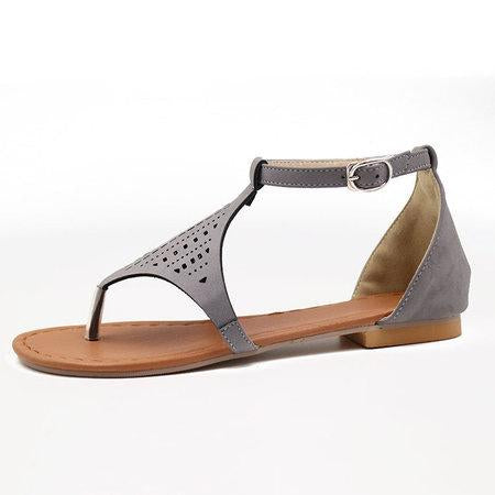 Hollow Ankle Strap Geometric Flats Sandals