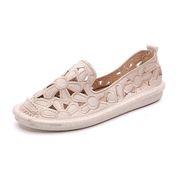 Hollow Out Flower Soft Breathable Lazy Flat Shoes