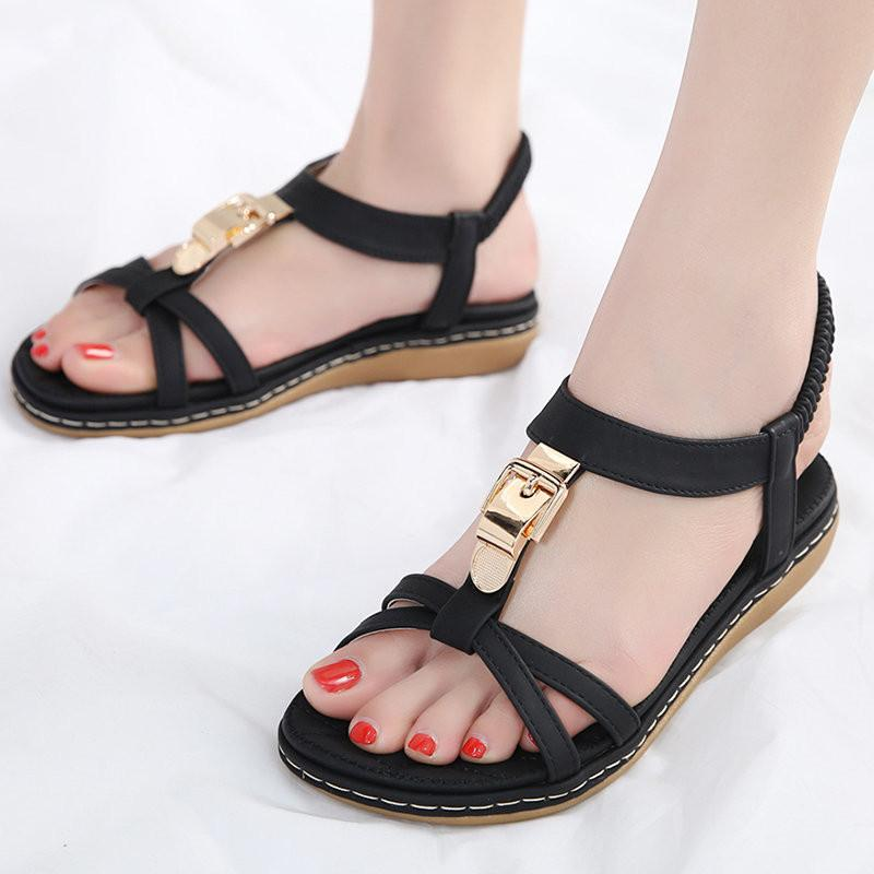 Metal Opened Toe Comfortable Slip On Flat Sandals