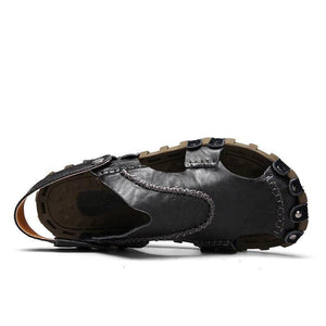 Men Genuine Leather Classic Gladiator Outdoor Fisherman Closed Toe Sandals