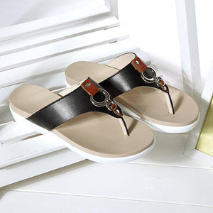 Big Size Metal Clip Toe Leather Flat Casual Beach Slippers