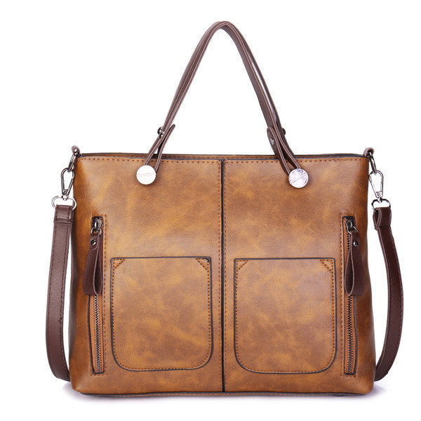 Women Retro Solid Tote Bags Dating Soft Leather Large Capacity Crossbody Bags