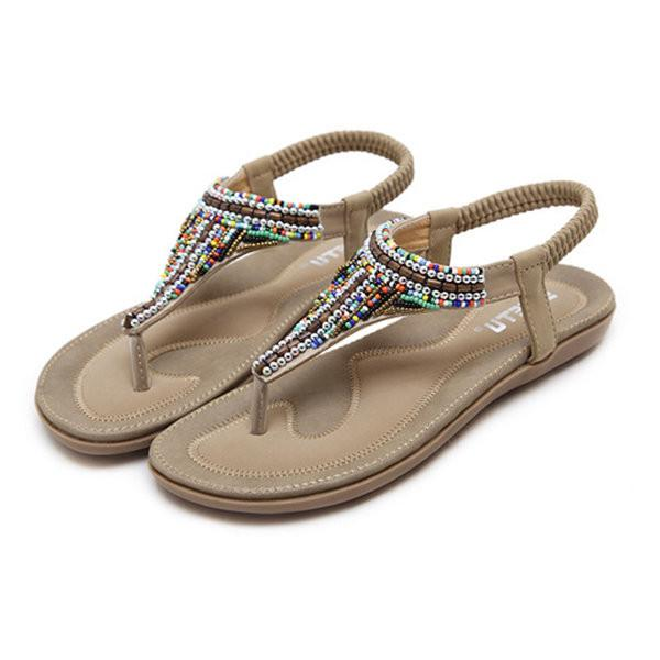 Large Size Colorful Beaded Bohemia Clip Toe Sandals