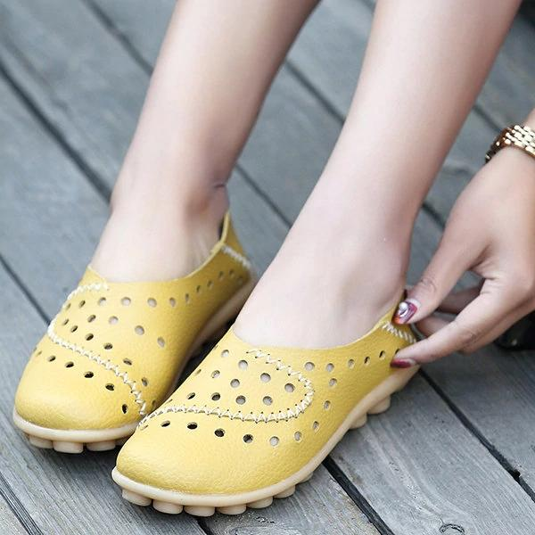 Large Size Hollow Out Leather Flat Shoes