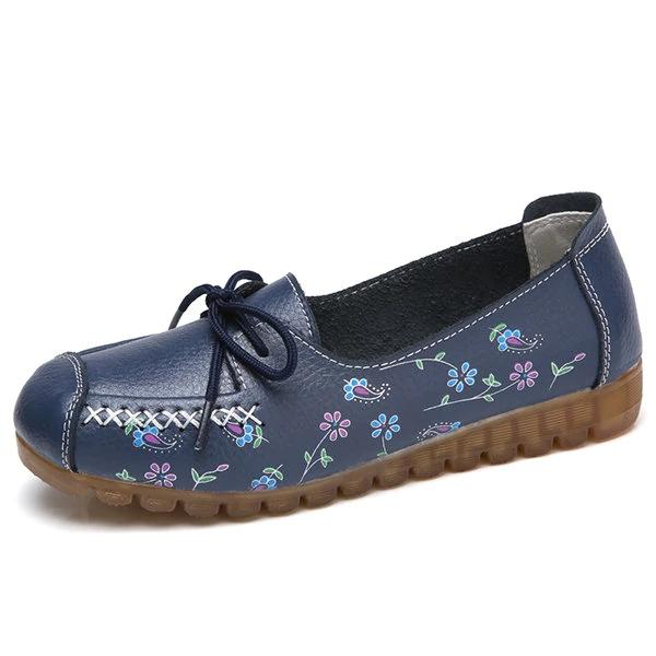 Floral Printing Comfortable Lace Up Soft Sole Flat Shoes