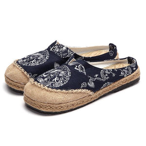 Dargon Flower Print Flax Open Heel Color Match National Style Slip On Flat Shoes