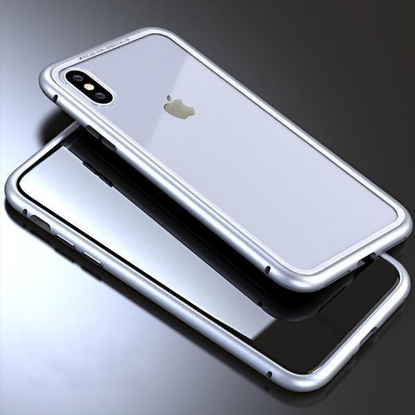 Magnet Absorption Metal Case for Iphone-Home & Garden-romancci.com-Silver-IPX-Clear-Romancci