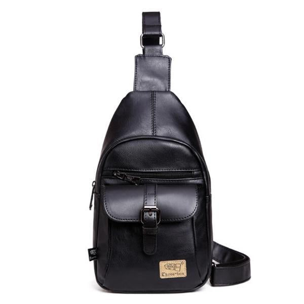 Men's Leather Casual Sling Bag Chest Bag Crossbody Bag-Bags-Prime4Choice.com-Black-