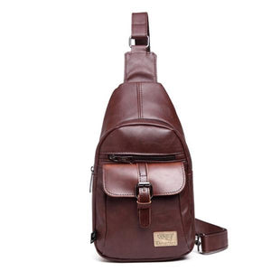 Men's Leather Casual Sling Bag Chest Bag Crossbody Bag-Bags-Prime4Choice.com-Coffee-