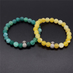 Pineapple Charm Lucky Color Beads Bracelets-Aromatherapy Leather Bracelet-Prime4Choice.com-Green&Yellow-