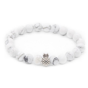Pineapple Charm Lucky Color Beads Bracelets-Aromatherapy Leather Bracelet-Prime4Choice.com-White-