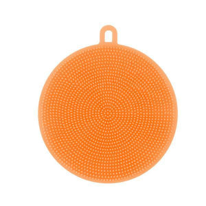 Round Silicone Dish Washing Sponge-Dish Cleaning-Prime4Choice.com-Orange-