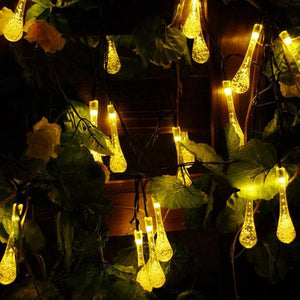 Waterproof Solar Powered Raindrop String Light-Lights-Prime4Choice.com-Warm White-