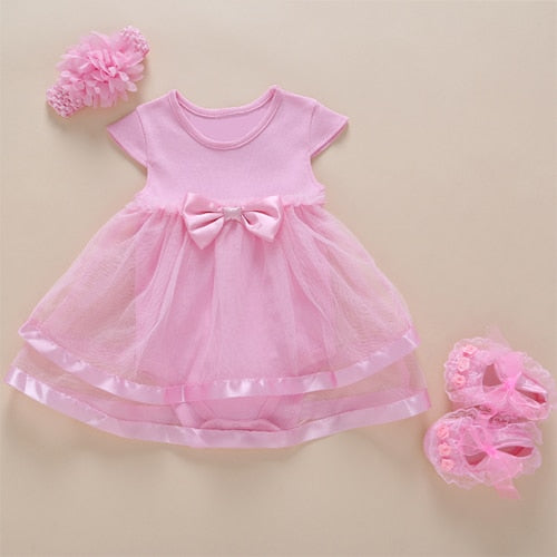 14e01e5cdb79 New Born Baby Girls Infant Dress clothes Summer Kids Party Birthday Outfits  1-2years Shoes Set Christening Gown Baby Jurk Zomer