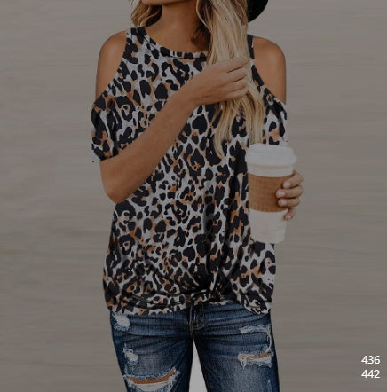 Camouflage Cold Shoulder T Shirt - S-2XL - 6 Colors