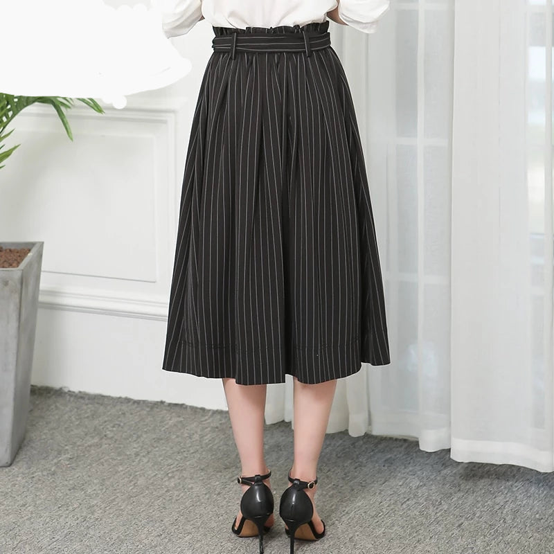 Flare Hem High Waist Midi Skirt Size - S-7XL