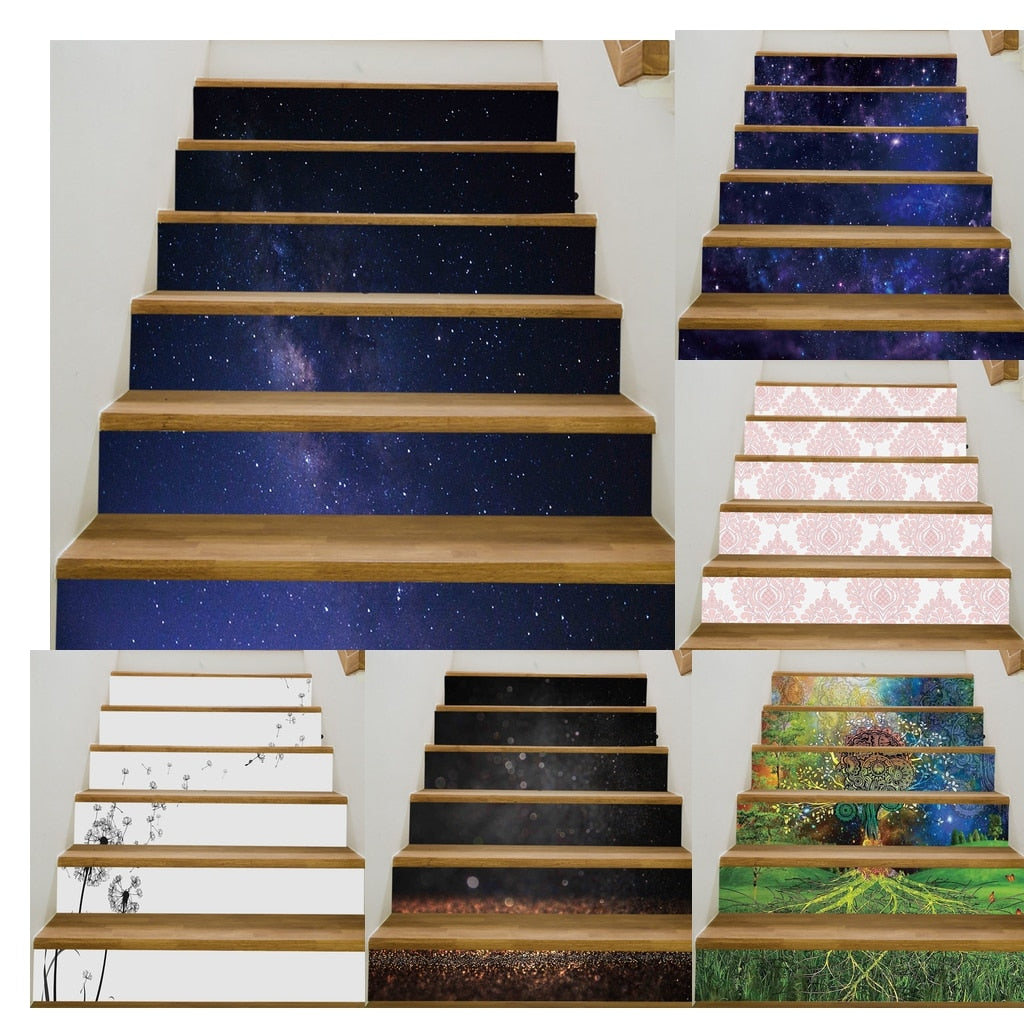 Stair Vinyl Mural Decal 6 Pieces - 15 Designs