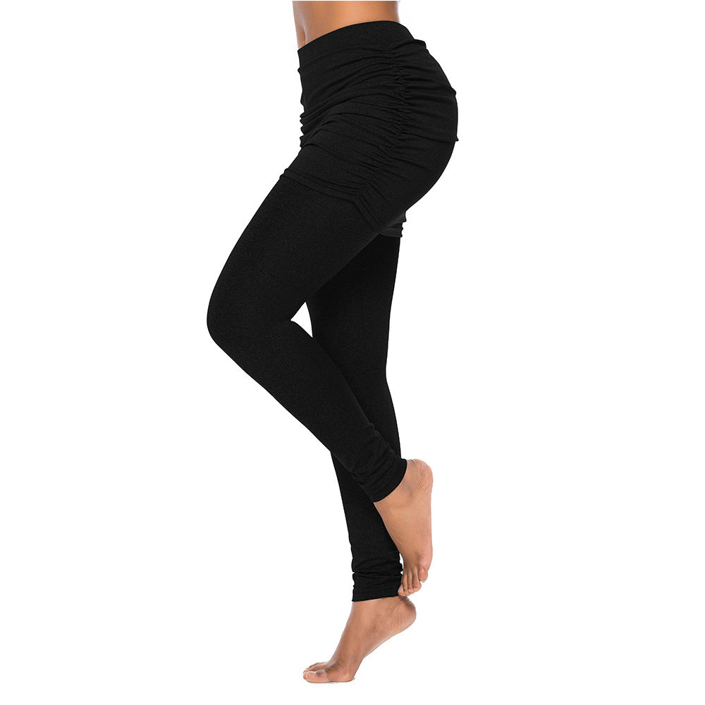 Two Pieces Skirted Leggings High Waist Pants - Black