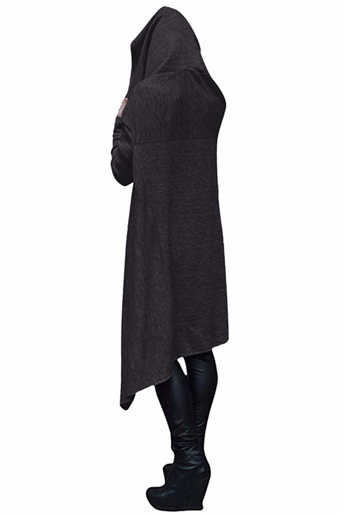 Faith Long Asymmetrical Hem Hoodie with Center Pocket - S-5XL - 4 Colors
