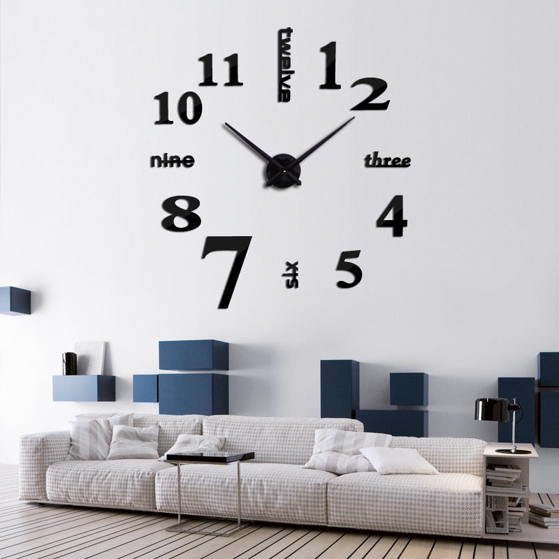 Acrylic Mirrored DIY Wall Clock - 3 Sizes - 9 Colors