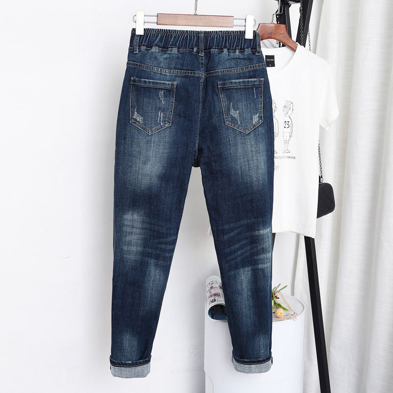 Loose Comfy Distressed Denim Jeans - XL-5XL