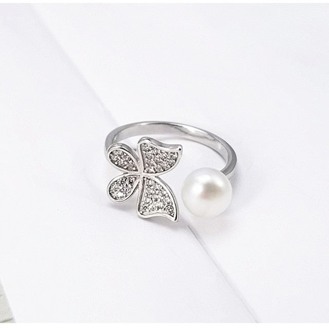 Sterling Silver Pearl & Butterfly Wrap Ring - 2 Colors
