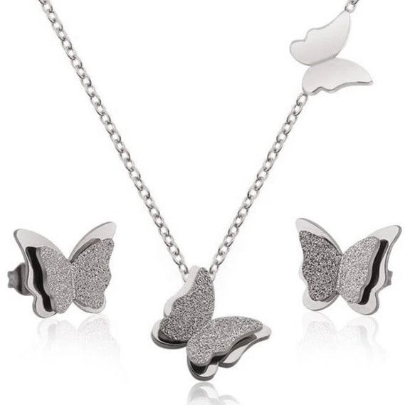 Stainless Steel Butterfly Jewelry - 3 pc Set