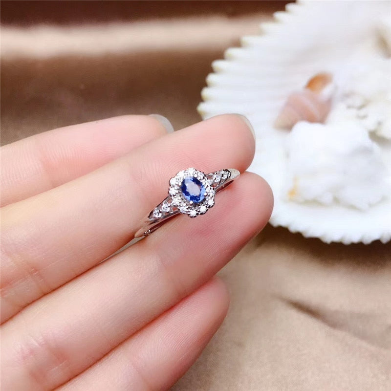 Genuine Natural Sapphire S925 Sterling Silver Ring - Sz 4-12