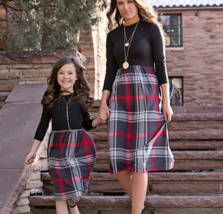 Holiday Plaid Sparkle - Matching Mother Daughter Dress - 4 Styles