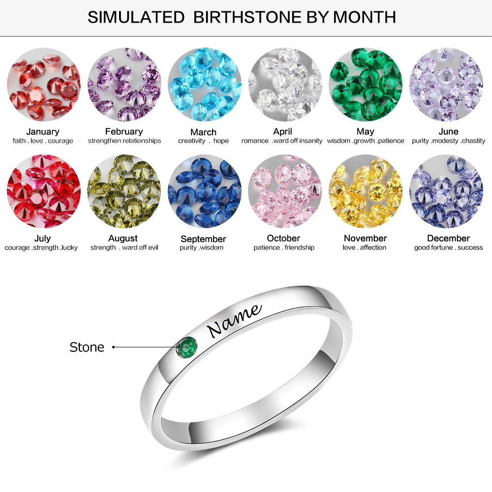 Personalized Name Ring with Birthstone  925 Sterling Silver - Sz: 6-9