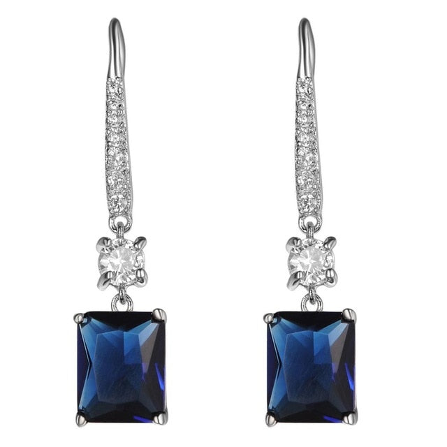 Sapphire CZ Gemstone Hoop Heart Earrings