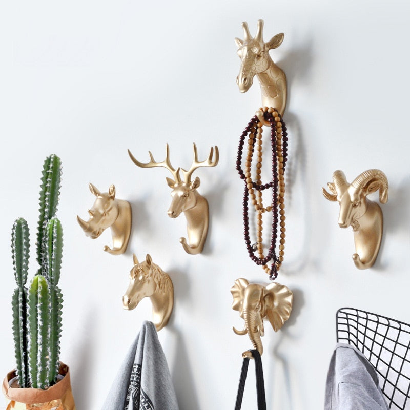ANIMAL HEAD WALL HOOKS - 3 COLORS