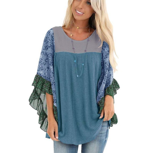 Flowers & Frill Raglan Top - S-5XL - 7 colors