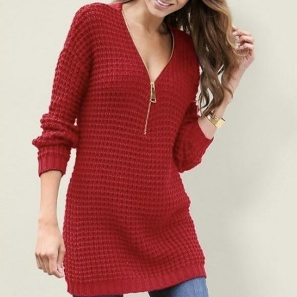 Zipper V-Neck Sweater - S-XL - 2 Colors