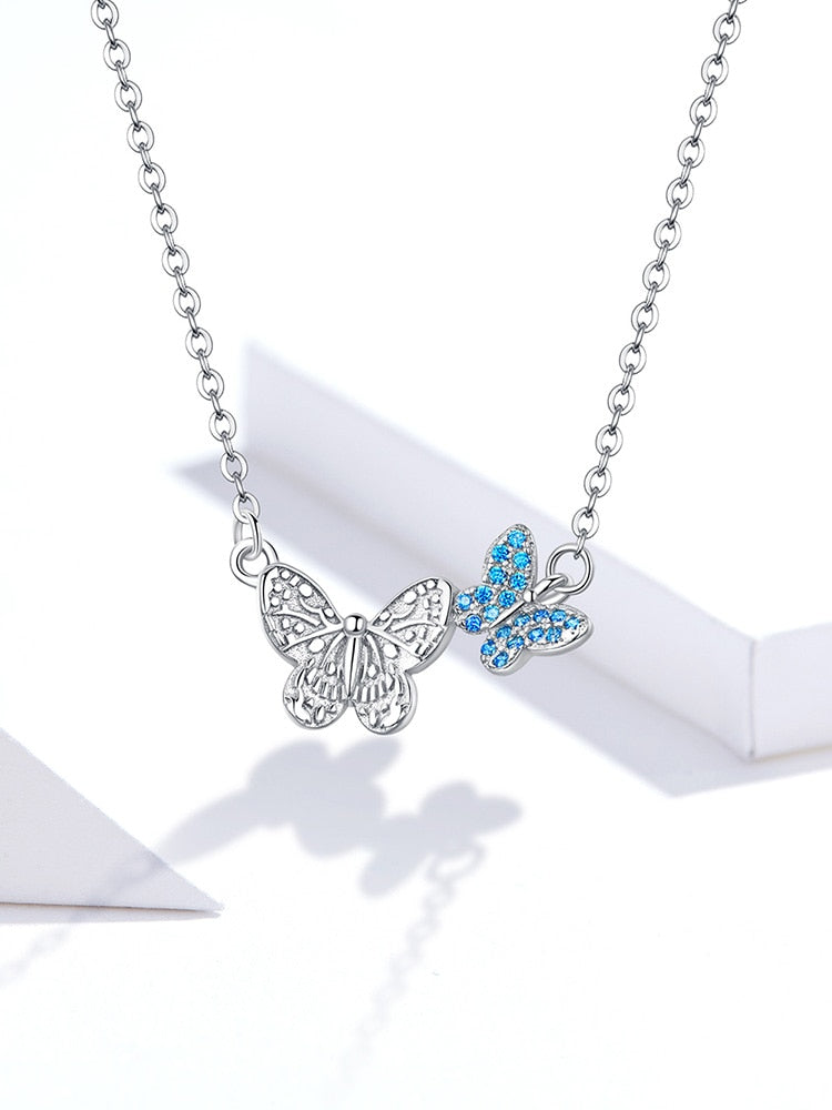 "925 Sterling Flying Duo Butterflies 18"" Necklace"
