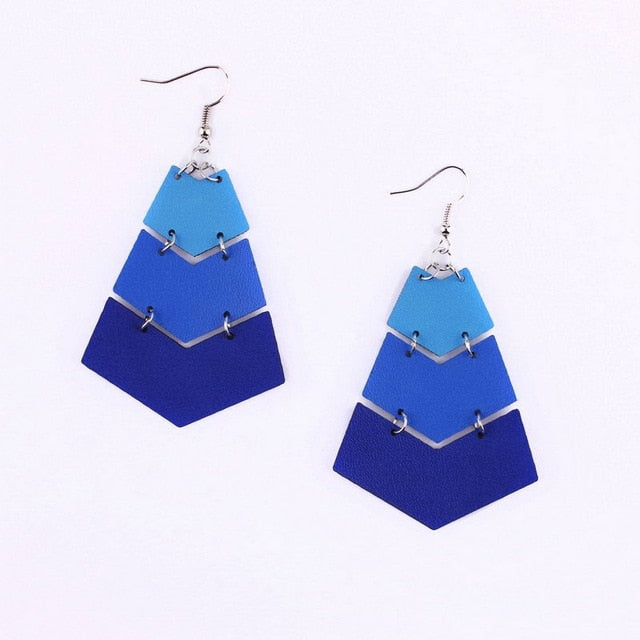 Chevron Leather Dangle Earrings - 5 Colors