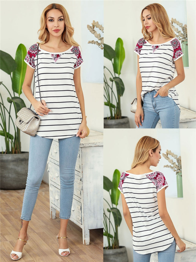Summer Raglan Short Sleeve  Striped T Shirt - S-2XL - 5 Colors