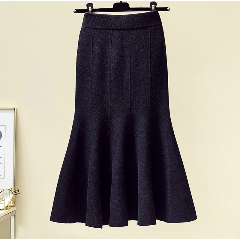 Elegant High Waist Solid Fitted Knitted Skirts - L-3XL