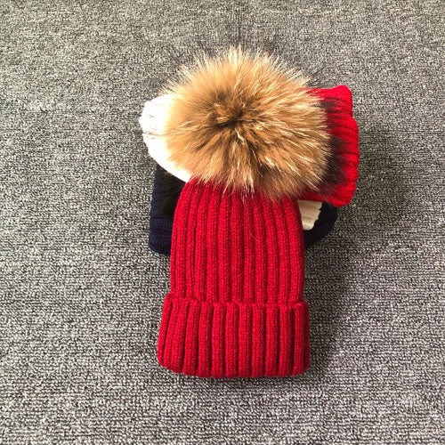 Fur Pom Pom Beanie Winter Hat  - 30 Colors