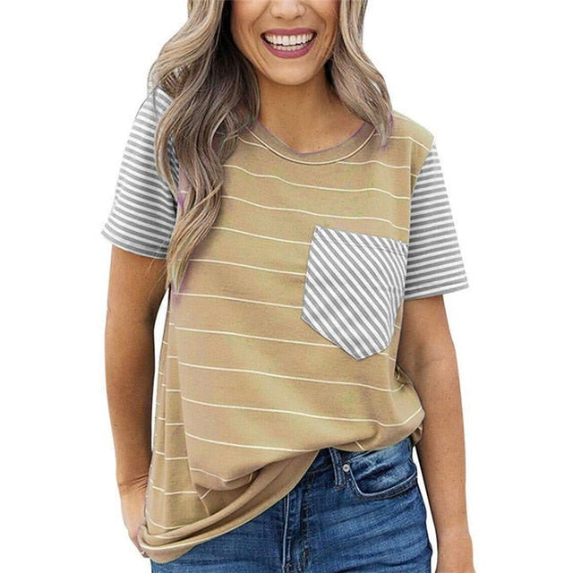 Striped T Shirt Women O-neck Short Sleeve Tee - S-2XL - 6 Colors