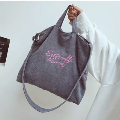 Corduroy Canvas Tote Casual Shoulder Bag