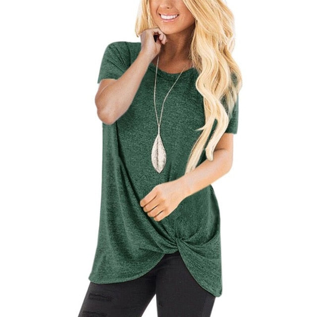 Round Neck Front Knotted T Shirt - S-3XL - 12 Colors