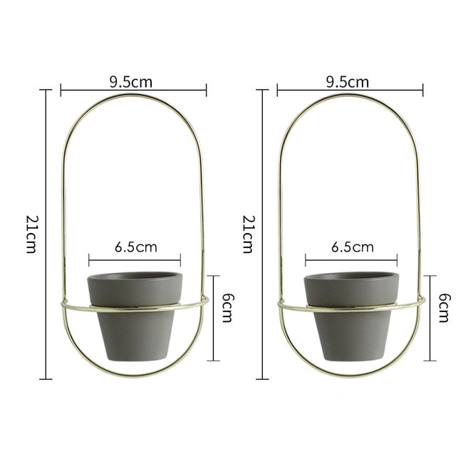 Oval Wall Hanging Flower Pots Metal Stands 2 Pieces - 3 Colors